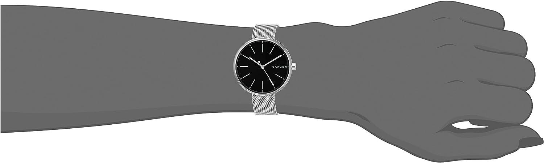 Skagen Women's Signatur Stainless Steel Quartz Watch with Leather Strap Silver / Black