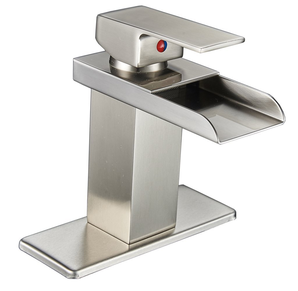 Greenspring Waterfall Bathroom Sink Faucet Single Handle Vanity Sink Lavatory Vessel Wide Spout Faucet,Nickel Brushed