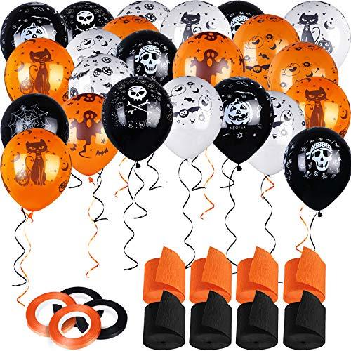 Blulu 60 Pieces Halloween Latex Balloons, 8 Rolls