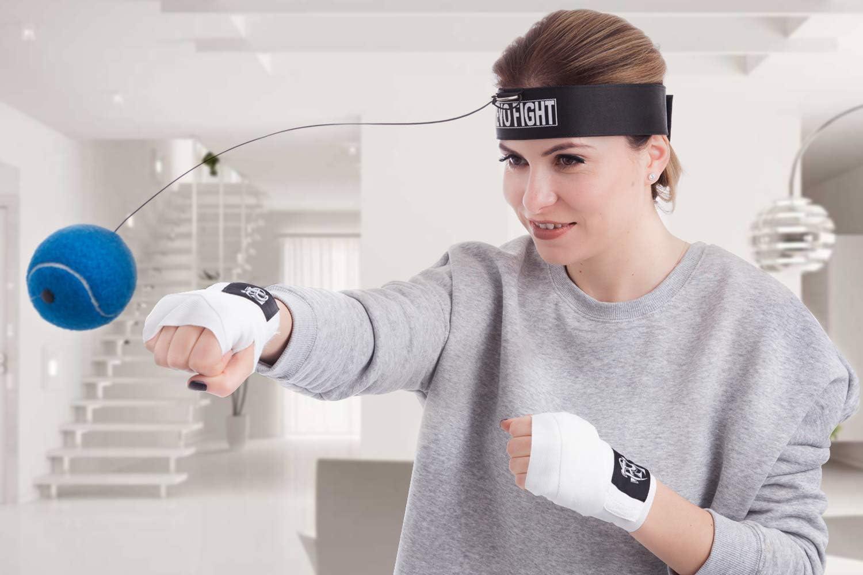 Beste Boxausr/üstung f/ür Training Premium Boxball Stirnband mit Punchingball an Schnur Revo Fight Boxing Reflexball 1 Paar Boxbandagen enthalten Hand-Augen-Koordination und Fitness