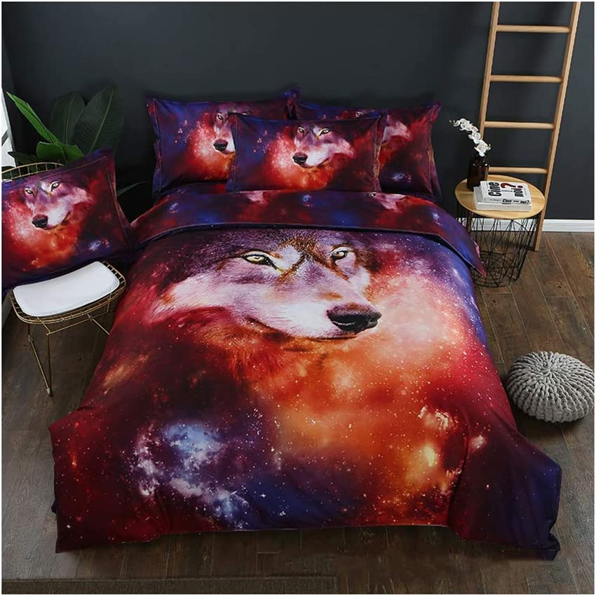 Homebed Wolf Bedding Set King Size 3D Animal Print for Kids Boys Teens Duvet Cover Set 3 Pieces