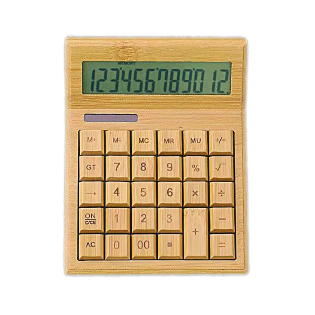 Omio Natural Bamboo Calculator Multifunctional Wood Solar Power Calculator 12-Digit Large Display Solar & Battery Dual Powered Environment Friendly Wooden Calculator for Home Office School Store by Omio