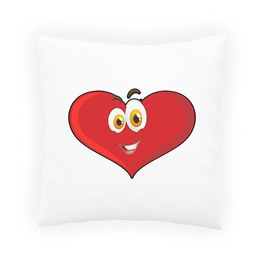 INNOGLEN Corazón Rojo Smile Facial Almohada Decorativa ...