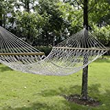 TANGKULA 78''x 59''Comfortable White Cotton Rope Swing Double Hammock Hanging