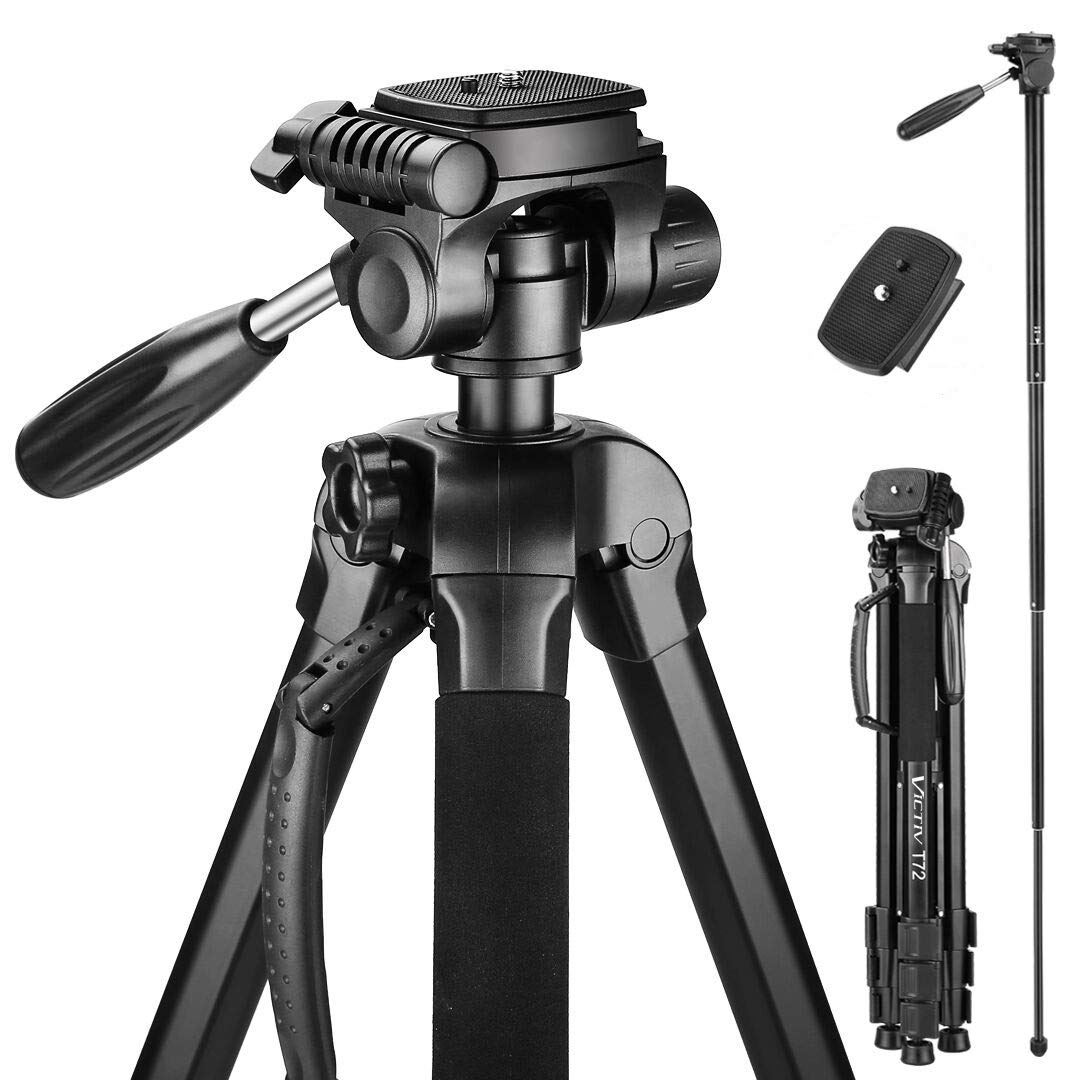 Victiv 72-inch Camera Tripod Aluminum Monopod T72 Max. Height 182 cm - Lightweight and Compact for Travel with 3-way Swivel Head and 2 Quick Release Plates for Canon Nikon DSLR Video Shooting - Black by Victiv