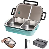 WORTHBUY Stainless Steel Lunch Container, 2 Section Design, Keep Foods Separated, Metal Bento Box with Insulated Lunch…
