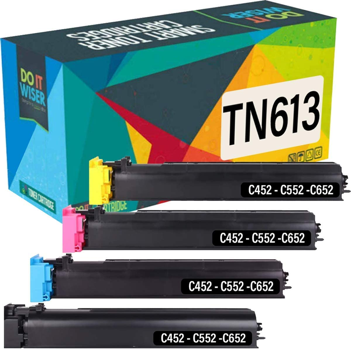 Do it Wiser Compatible Toner Cartridge Replacement for Konica Minolta Bizhub C452 C552 C652 Toner | TN613 TN613K TN613C TN613M TN613Y (4-Pack)
