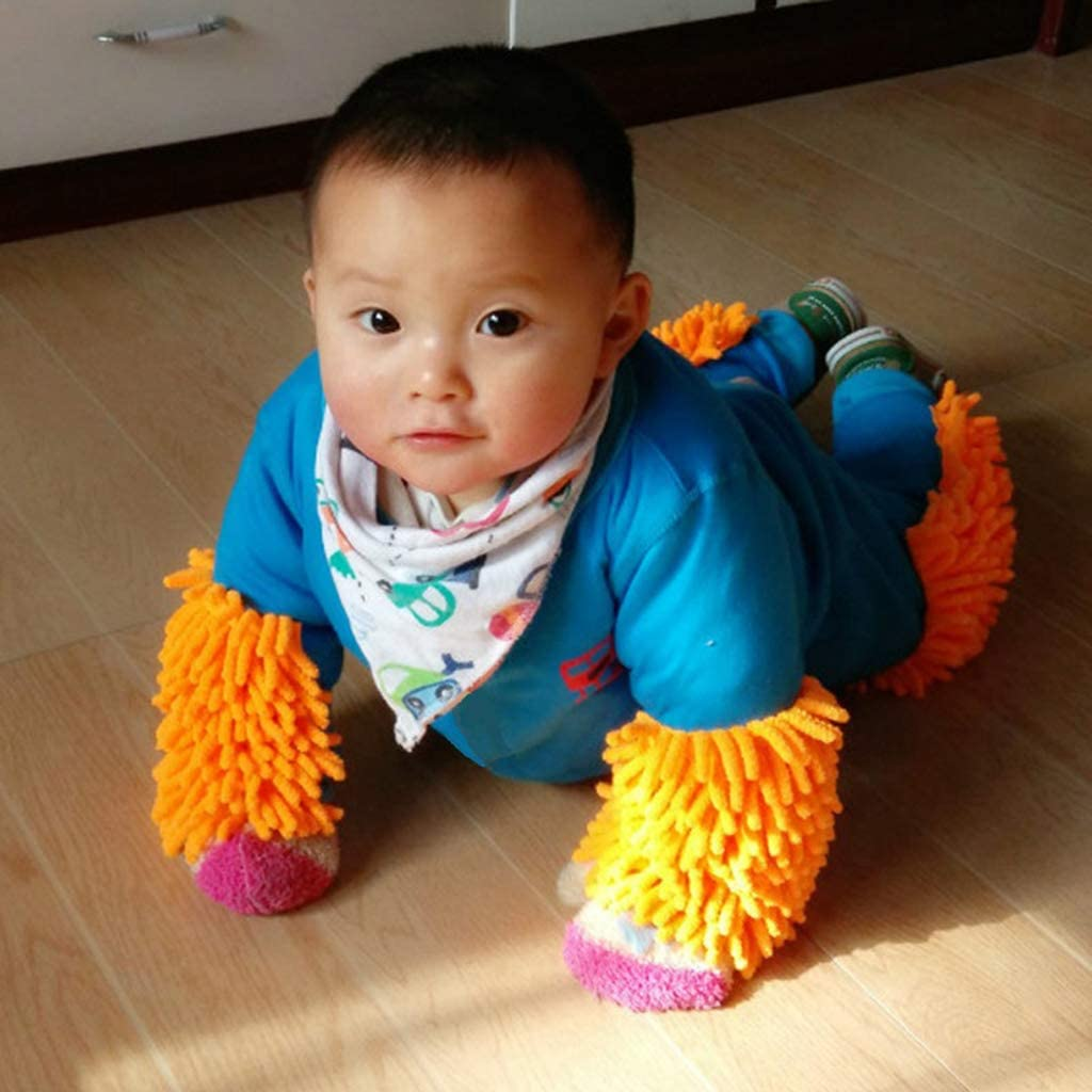 ExlinAlesha Baby Boys Girls Footies Cleaning Mop Romper