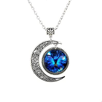 insect butterfly necklace locket pendant lalbug blue picture com product