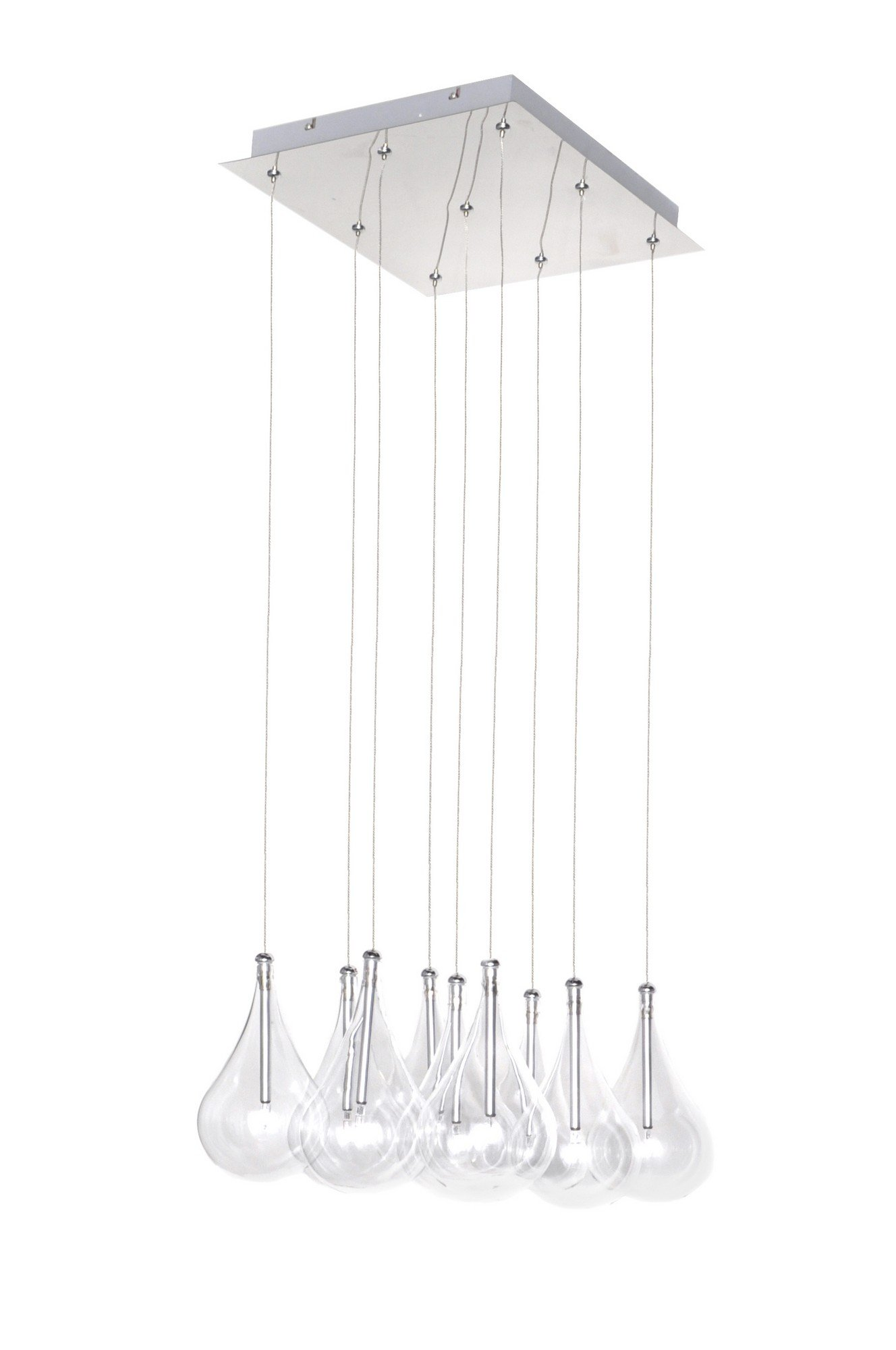 ET2 E20116-18 Larmes 9-Light Multi-Light Pendant, Polished Chrome Finish, Clear Glass, 12V G4 Xenon Bulb, 50W Max., Dry Safety Rated, Shade Material, 3450 Rated Lumens
