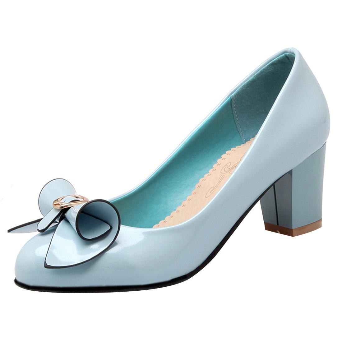 YE Damen Chunky Heels Pumps Rockabilly High Heels Geschlossen mit Schleife und 6cm Absatz Kleid Elegant Schuhe  35 EU|Blau