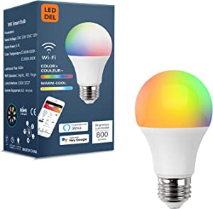 Smart Light Bulbs Work with Alexa Echo Google Home IFTTT Without Hub,LED RGB WiFi Color Changing Dimmable,A19 E26 2.4Ghz Only