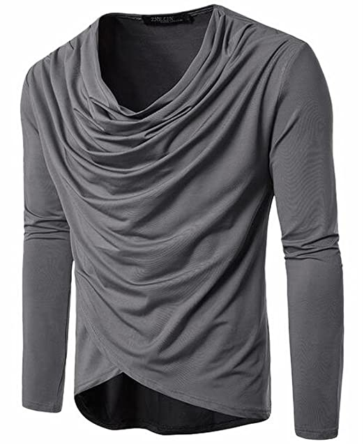 3b2157a43 ONTBYB Mens Fashion Hip Hop Cowl Neck Long Sleeve Solid Color T-Shirt Tops  Grey