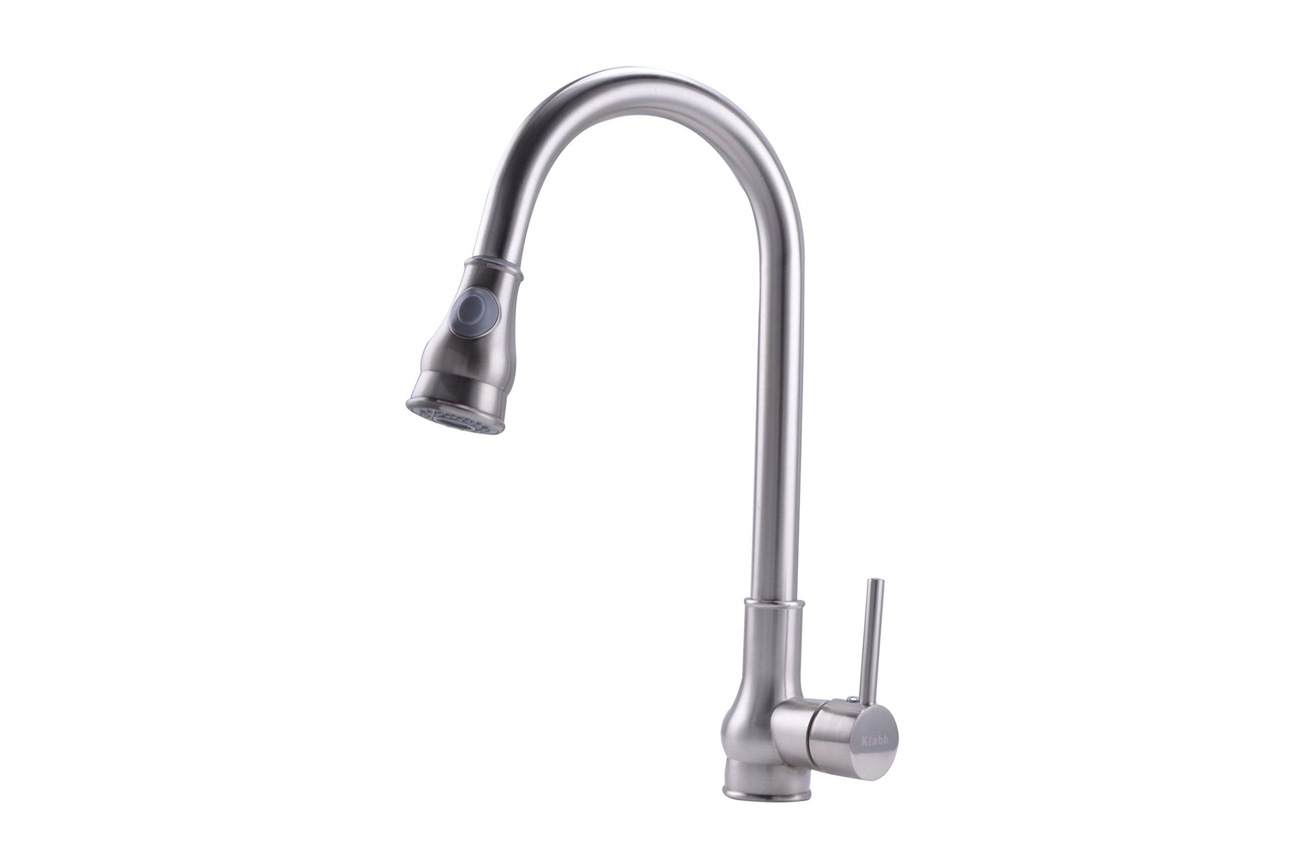 Klabb Faucet KF 80001 Single Handle Pull-Down Kitchen Faucet, Brushed nickle