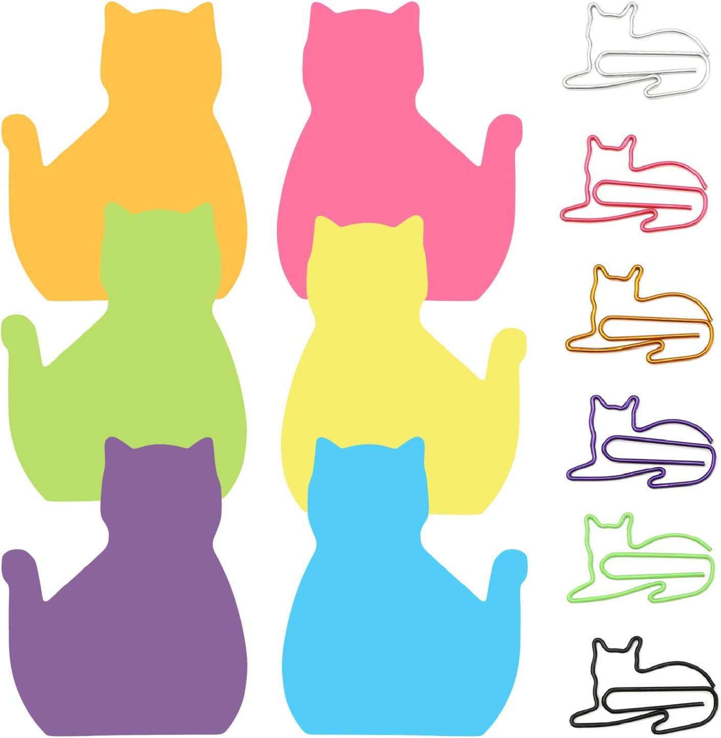 6 Color Cat Paper Clips and Silhouette Cat Sticky Notes Set, Cat Lover Gifts for Women, Cute Cat Office Supplies, Office Desk Accessories for Work School Office