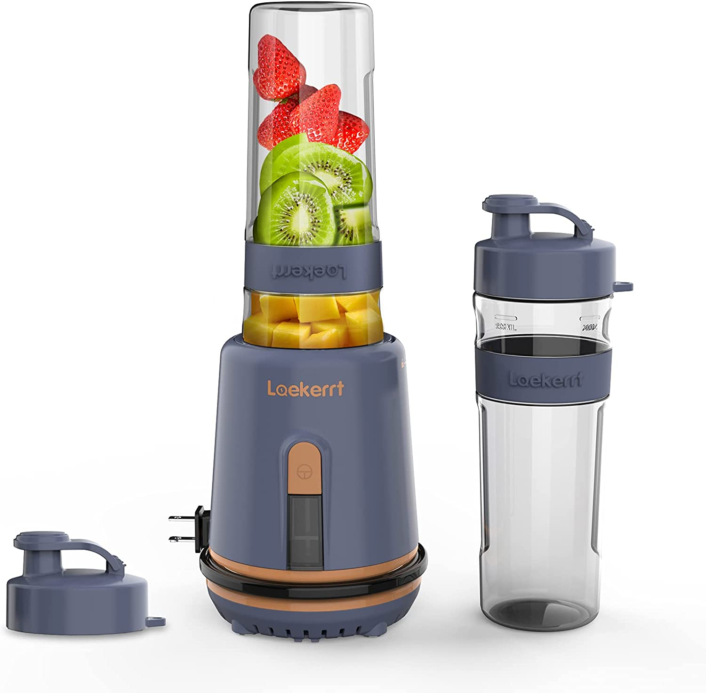 Smoothie Blender, Laekerrt Personal Blender for Shakes and Smoothies, Portable Blender with 2 Tritan BPA-Free 20 oz Sport Travel Bottles ,(Navy Blue)