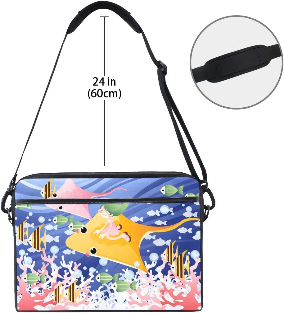 Jellyfish Cuttlefish Lady Laptop Notebook Computer Tablet Carrying Crossbody Shoulder Bag Fits 13-14.5 in for Men Women