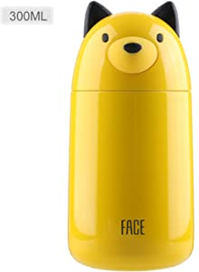 FACE Cute Water Bottle for School Vacuum Insulated Stainless Steel Thermal Mug for Kids, 10-Ounce, Yellow Dog