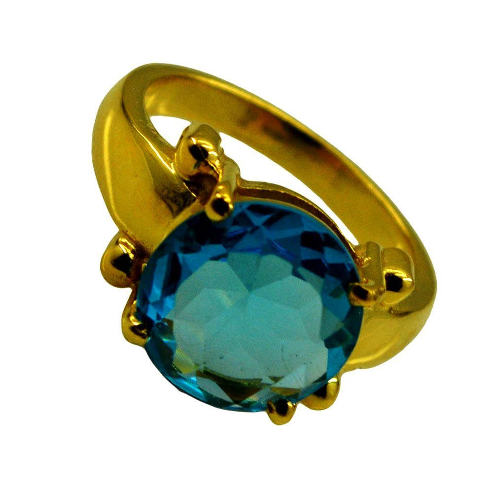 Blue Topaz Cubic Zircon Gold Plated Ring For Women Gift December Birthstone Round Size 5,6,7,8,9,10,11,12