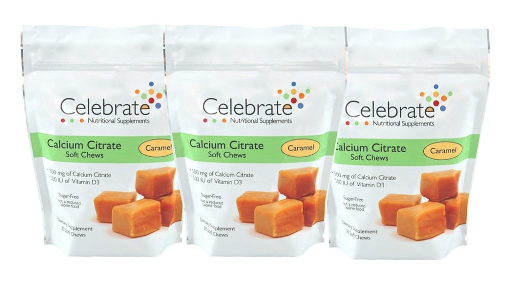 Celebrate Calcium Citrate Soft Chews - 500 mg - Caramel - 3 Pack