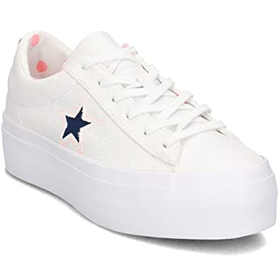 online store 3b2ff 89cf0 Converse, Donna, One Star Platform, Tessuto, Sneakers, Bianco