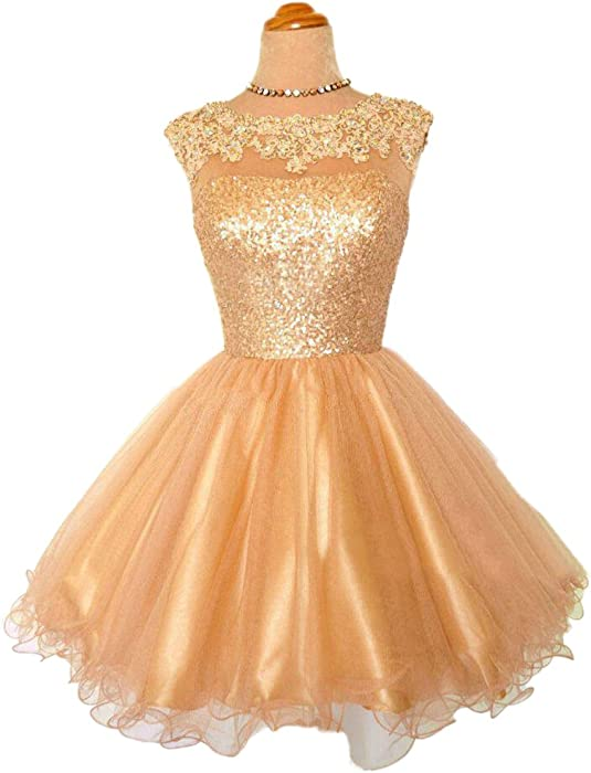 Cute Ball Gown Short Homecoming Dresses Sequins Gold Prom Dresses