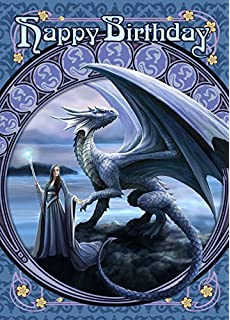 Anne stokes greeting cards angel rose amazon office products new horizons dragon fantasy art nouveau anne stokes birthday greeting card m4hsunfo