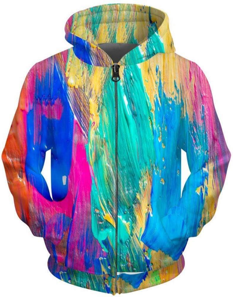 PU Primavera e autunno Nuove felpe con cerniera colorate per donna Uomo Felpe con cappuccio Pittura a olio Felpa con stampa 3D Cappotto Streetwear,S S