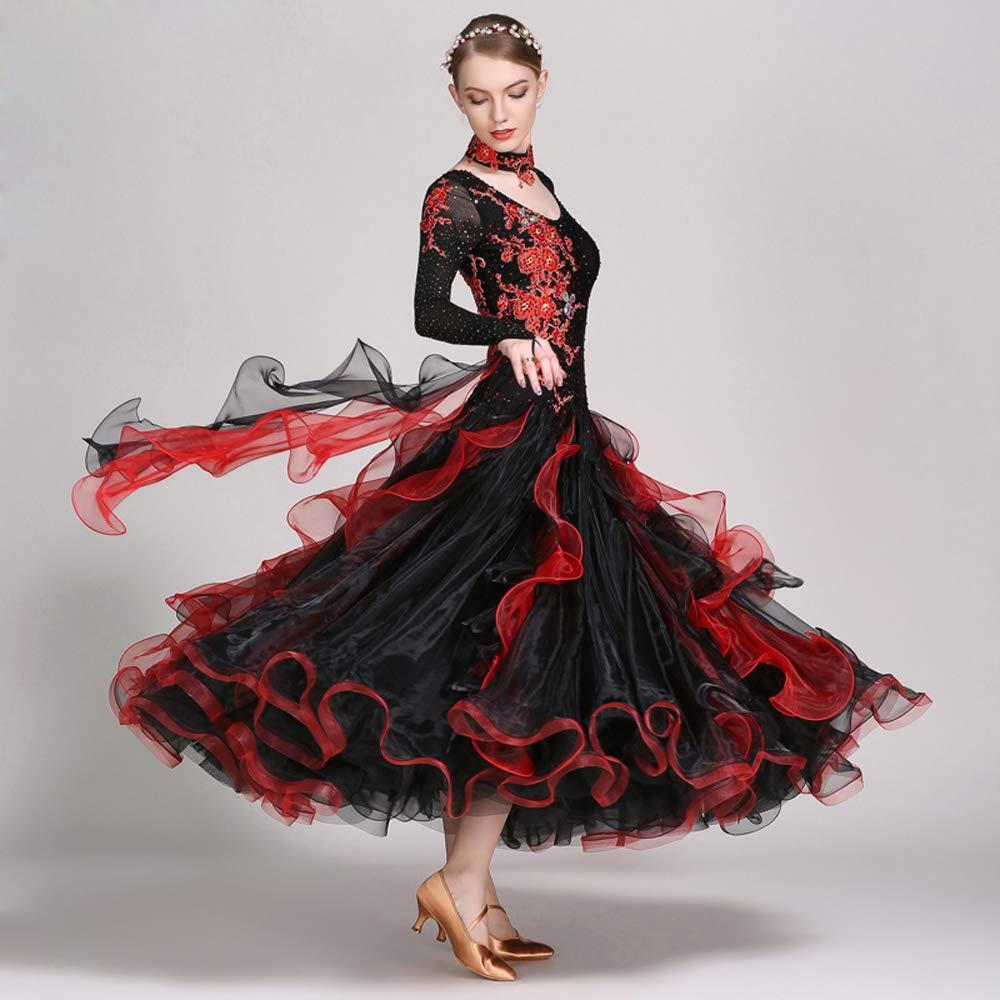 現代の女性の大きな振り子の手刺繍タンゴとワルツダンスドレスダンスコンペティションスカート長袖ラインストーンダンスコスチューム B07HHP2886 XL|Black Black XL