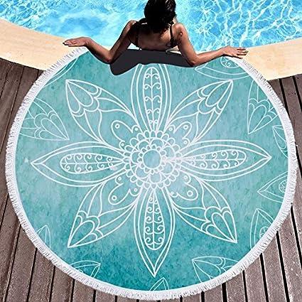 GSYAZTT Biki Hippie Boho Macrame Redondo Toallas de Playa para Adultos Swim Microfibra Tejido Grande Yoga