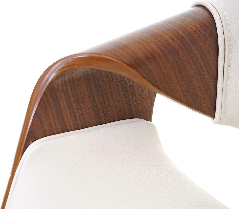 Retro-Design Vintage Bugholz Walnuss-Optik ~ Kunstleder Creme Barstuhl Tresenhocker Mendler Barhocker HWC-E86