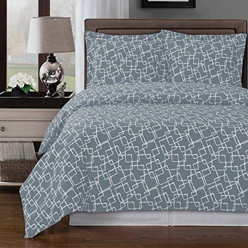 (8pcs Queen Size Bed in a Bag Printed Duvet Set Including Cotton Eva Grey 3pcs Duvet Cover Set+ 4pcs Queen Sheet Set+ 1pc Full/Queen Down Alternative)