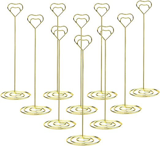 10pcs Place Card Holders Table Number Stands Wedding Photo Picture Clip Gold