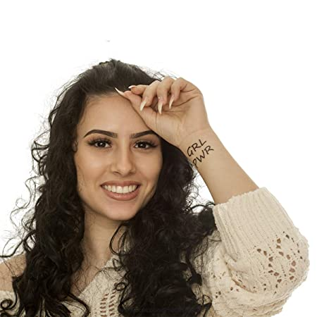 GRL PWR - Tatuaje Femenino para Mujer, Color Negro, Negro, 2 x GRL ...