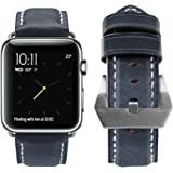 Apple Watch Band, top4cus Genuine Leather iwatch Strap Replacement Band with Stainless Metal Clasp for Apple Watch Series 3 Series 2 Series 1 Sport and Edition (Be unique buckle - Blue, 42mm)