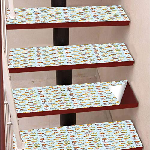 (3D Print Non-Slip PVC Stair Pads,Self-Adhesive Steps Sticker,Staircase Treads Protector,Newborn Sun Teddy Bear Ribbon Feeder Pacifier Chick Kitty Cat Design Decorative,for Home Decoration(9.8X39 inch))