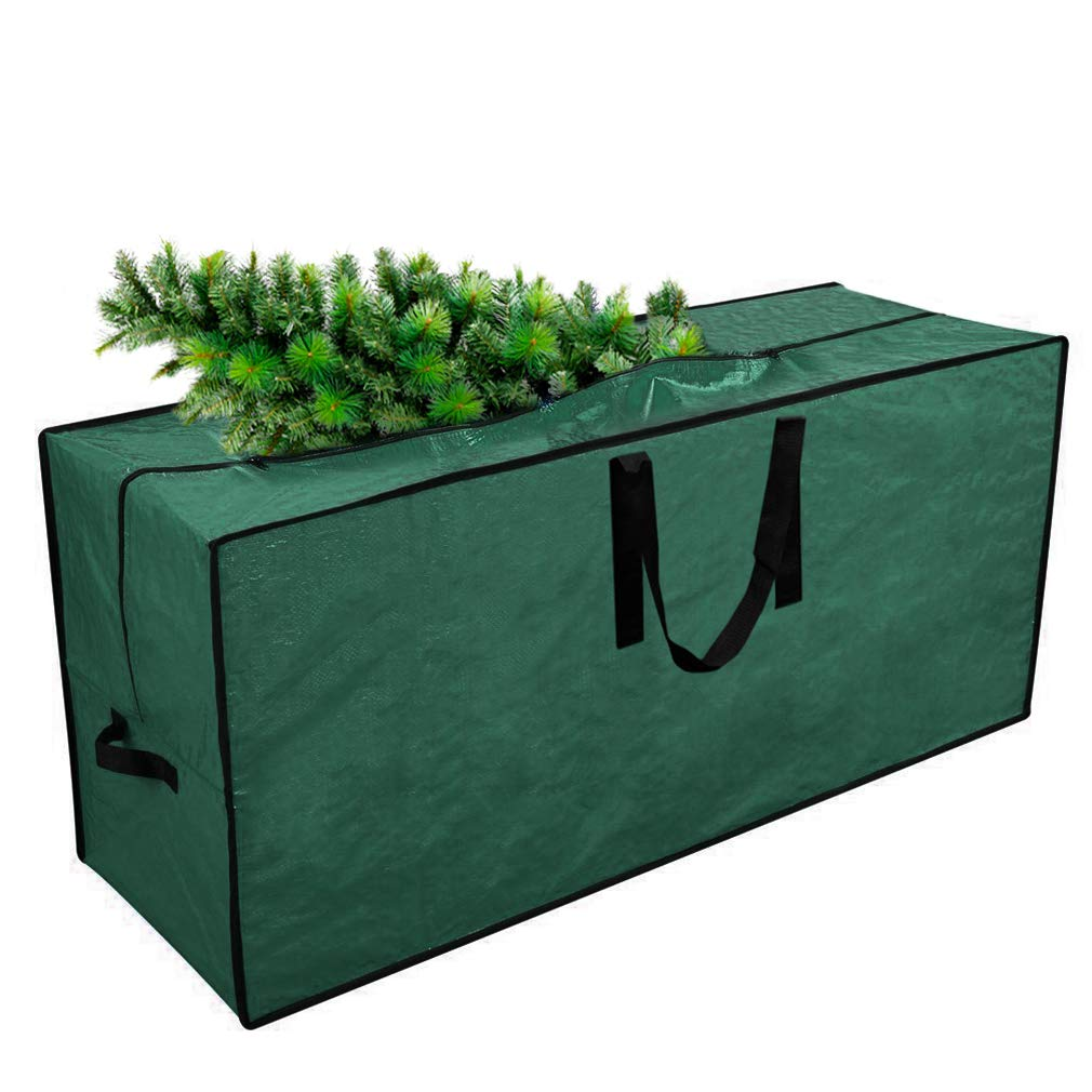"""Primode Artificial Xmas Tree Storage Bag with Handles   45"""" x 15"""" x 20"""" Holiday Tree Storage Case   Protective Zippered Xmas Tree Bag Fits Up to 7 Foot Tall Disassembled Trees (Green)"""