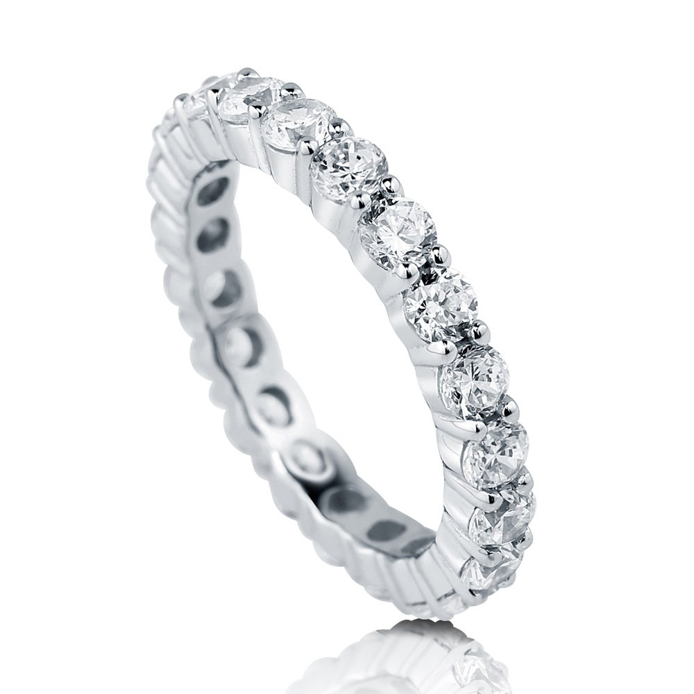 BERRICLE Rhodium Plated Sterling Silver Cubic Zirconia CZ Anniversary Wedding Eternity Band Ring Size 6.5