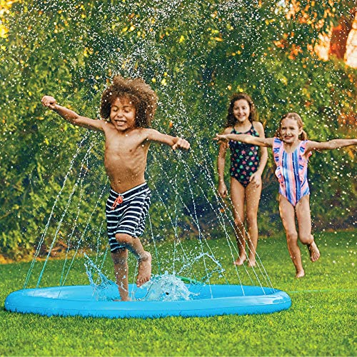 """(68"""") Inflatable Splash Pad Sprinkler for Kids Toddlers, Kiddie Baby Pool, Outdoor Games Water Mat Toys - Baby Infant Wadin Swimming Pool - Fun Backyard Fountain Play Mat for 1 -12 Year Old Girls Boys"""