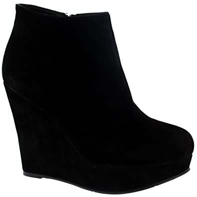82db3b52bca Womens High Wedge Heel Ankle Boot Platform Zipper Black Party Shoes Boots