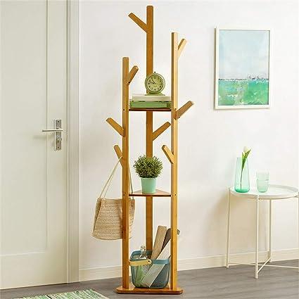 WSWJJXB Perchero Vertical Simple Perchero de bambú ...