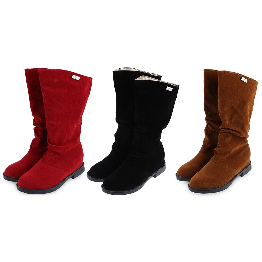 Lieyliso Damenschnalle Kniehohe Reitstiefel Elegante Reine Farbe Flache Sohle Hohe Beinstiefel (Farbe   rot Größe   38)