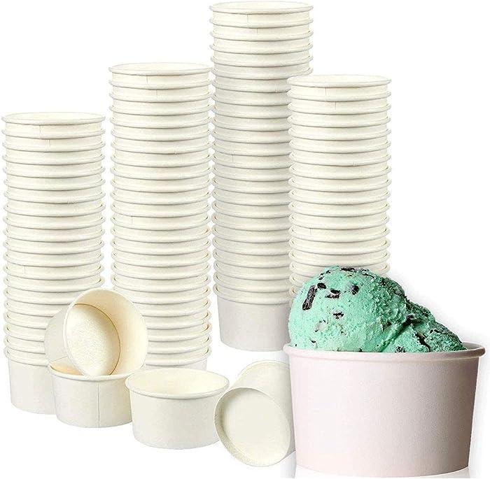 Ice Cream Sundae Cups, Disposable Dessert Bowls (White, 8 oz., 100 Pack)