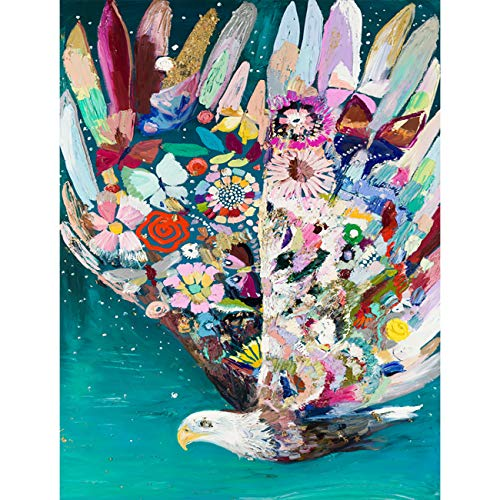 """Leyzan 5D Diamond Painting Colorful Feather Eagle Full Drill Paint with Diamond Art, DIY Glede Painting by Number Kits Cross Stitch Embroidery Rhinestone Wall Home Decor 30x40cm (12""""x16"""")"""