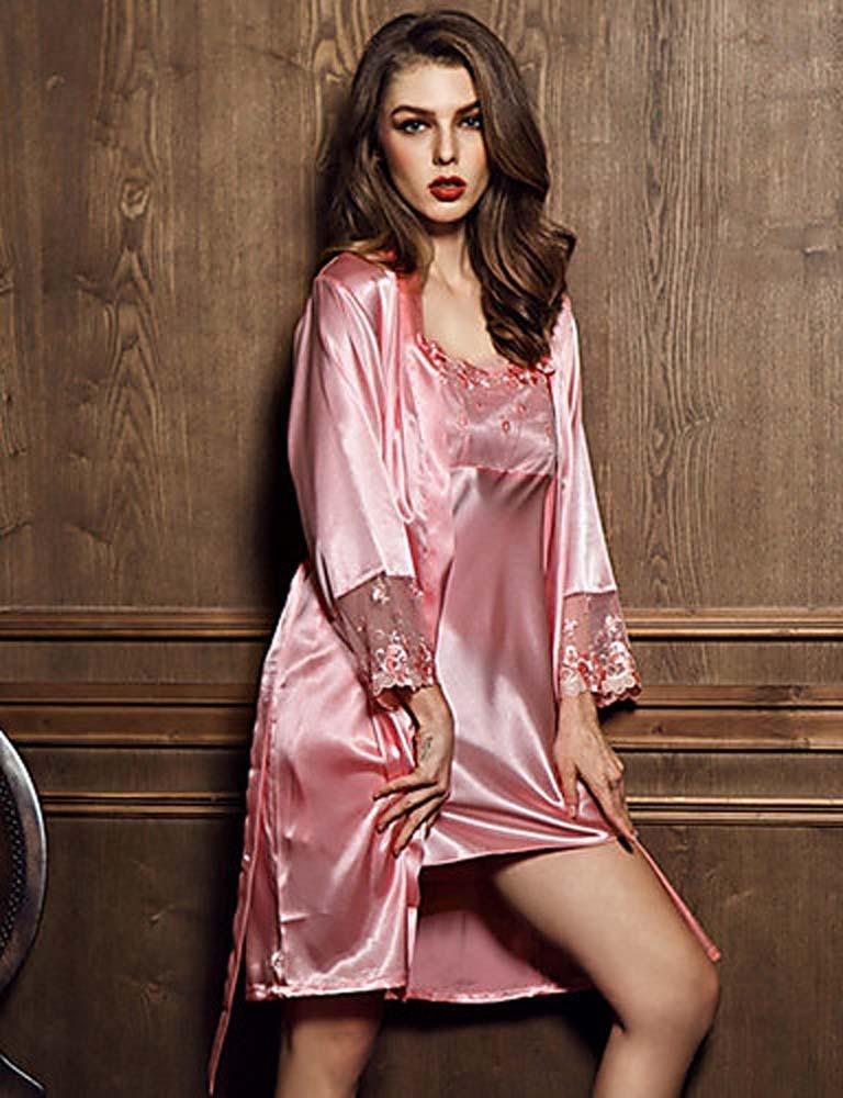 WWQY Women Silk Pajama , fuchsia , l