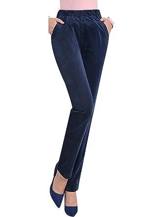 akribische Färbeprozesse erstaunliche Qualität große Sammlung Bigassets Damen Elastische Taille Hose mit Geradem Bein ...