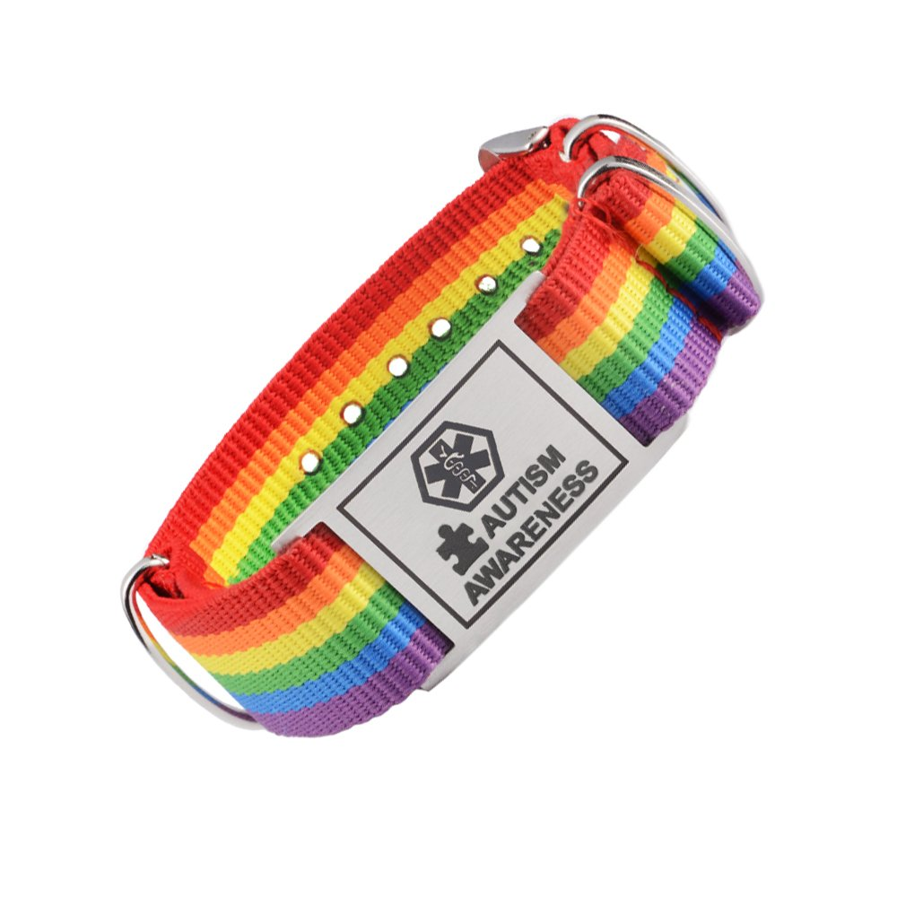 Tarring Sports Rainbow Canvas band Medical id bracelets for Girls & Boys- Pre-engraving AUTISM AWARENESS