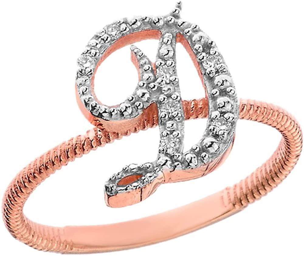 Solid Rose Gold Script Initial O Stackable Diamond Ring