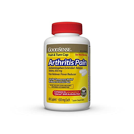 GoodSense Acetaminophen Extended-Release Tablets 650 mg (Arthritis Pain), 400 Count. May provide Temporary Pain Relief from: Minor Pain of Arthritis, ...