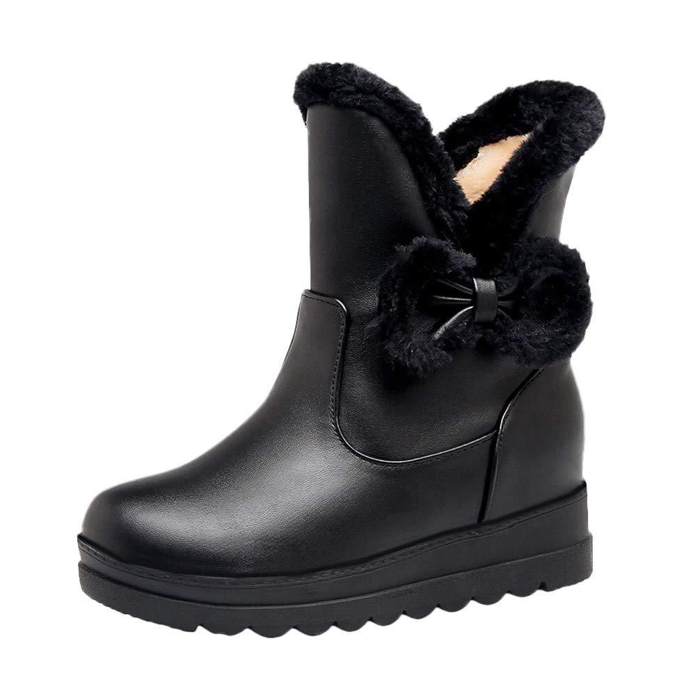 Hunzed Women Shoes Women's Plus Velvet Leather Casual Bow Flat Short Snow Boots (Black, 5.5)